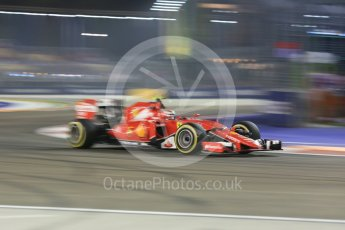 World © Octane Photographic Ltd. Scuderia Ferrari SF15-T– Kimi Raikkonen. Friday 18th September 2015, F1 Singapore Grand Prix Practice 2, Marina Bay. Digital Ref: 1429CB5D0347