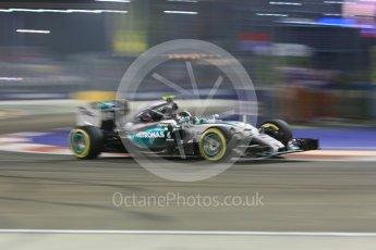 World © Octane Photographic Ltd. Mercedes AMG Petronas F1 W06 Hybrid – Nico Rosberg. Friday 18th September 2015, F1 Singapore Grand Prix Practice 2, Marina Bay. Digital Ref: 1429CB5D0366