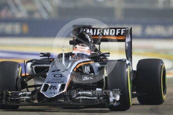World © Octane Photographic Ltd. Sahara Force India VJM08B – Nico Hulkenberg. Friday 18th September 2015, F1 Singapore Grand Prix Practice 2, Marina Bay. Digital Ref: 1429CB7D0430