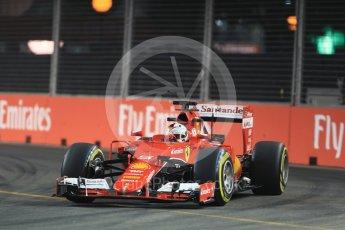 World © Octane Photographic Ltd. Scuderia Ferrari SF15-T– Sebastian Vettel. Friday 18th September 2015, F1 Singapore Grand Prix Practice 2, Marina Bay. Digital Ref: 1429LB1D5855