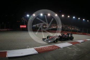 World © Octane Photographic Ltd. McLaren Honda MP4/30 - Jenson Button. Friday 18th September 2015, F1 Singapore Grand Prix Practice 2, Marina Bay. Digital Ref: 1429LB1D6280