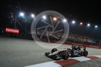 World © Octane Photographic Ltd. Sahara Force India VJM08B – Nico Hulkenberg. Friday 18th September 2015, F1 Singapore Grand Prix Practice 2, Marina Bay. Digital Ref: 1429LB1D6403