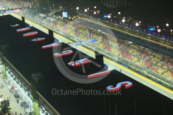World © Octane Photographic Ltd. Friday 18th September 2015, F1 Singapore Grand Prix Practice 2, View of circuit from Singapore Flyer. Marina Bay. Digital Ref: 1429LB1D6649