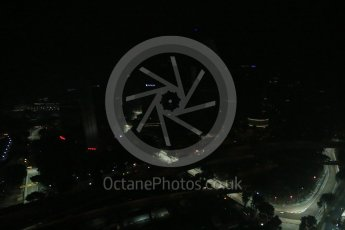 World © Octane Photographic Ltd. Friday 18th September 2015, F1 Singapore Grand Prix Practice 2, View of circuit from Singapore Flyer. Marina Bay. Digital Ref: 1429LB1D6791