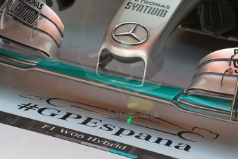 World © Octane Photographic Ltd. Mercedes AMG Petronas F1 W06 Hybrid – garage detail and nose. Saturday 9th May 2015, F1 Spanish GP Formula 1 Practice 3, Circuit de Barcelona-Catalunya, Spain. Digital Ref: 1256LW1L7719