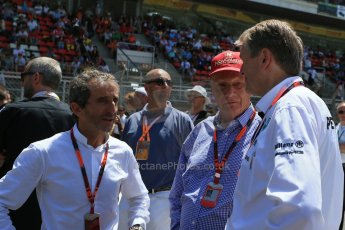 World © Octane Photographic Ltd. Alain Prost and Niki Lauda. Sunday 10th May 2015, F1 Spanish GP Formula 1 Grid, Circuit de Barcelona-Catalunya, Spain. Digital Ref: 1264LB1D0169