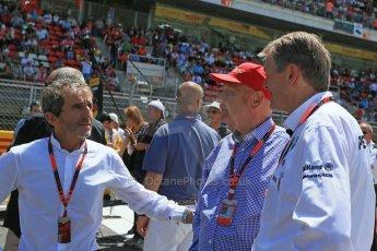World © Octane Photographic Ltd. Alain Prost and Niki Lauda. Sunday 10th May 2015, F1 Spanish GP Formula 1 Grid, Circuit de Barcelona-Catalunya, Spain. Digital Ref: 1264LB1D0173