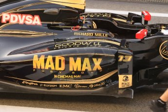 World © Octane Photographic Ltd. Lotus F1 Team E23 Hybrid with Mad Max livery – Pastor Maldonado. Friday 8th May 2015, F1 Spanish GP Formula 1 pre-practice 1 pitlane, Circuit de Barcelona-Catalunya, Spain. Digital Ref: 1248CB1L5934