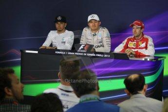 World © Octane Photographic Ltd. Mercedes AMG Petronas F1 W06 Hybrid – Nico Rosberg (1st), Lewis Hamilton (2nd) and Scuderia Ferrari SF15-T– Sebastian Vettel (3rd). Sunday 10th May 2015, F1 Spanish GP Formula 1 Post-Race press conference, Circuit de Barcelona-Catalunya, Spain. Digital Ref: 1267CB7D0936