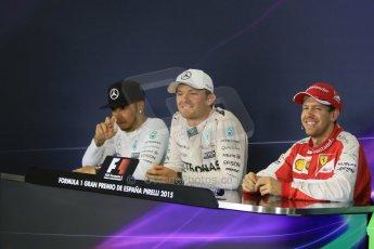 World © Octane Photographic Ltd. Mercedes AMG Petronas F1 W06 Hybrid – Nico Rosberg (1st), Lewis Hamilton (2nd) and Scuderia Ferrari SF15-T– Sebastian Vettel (3rd). Sunday 10th May 2015, F1 Spanish GP Formula 1 Post-Race press conference, Circuit de Barcelona-Catalunya, Spain. Digital Ref: 1267CB7D0978