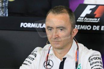World © Octane Photographic Ltd. Paddy Lowe - Executive Director of Mercedes Formula One. Friday 8th May 2015, F1 Spanish GP. Team Press Conference, Circuit de Barcelona-Catalunya, Spain. Digital Ref: 1254LB7D6737