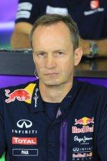 World © Octane Photographic Ltd. Paul Monaghan, Red Bull Racing Chief Engineer. Friday 8th May 2015, F1 Spanish GP. Team Press Conference, Circuit de Barcelona-Catalunya, Spain. Digital Ref: 1254LB7D6800