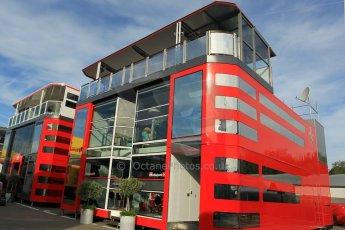 World © Octane Photographic Ltd. Scuderia Ferrari Motorhome. Thursday 7th May 2015, F1 Spanish GP Paddock, Circuit de Barcelona-Catalunya, Spain. Digital Ref: 1244CB1L5789