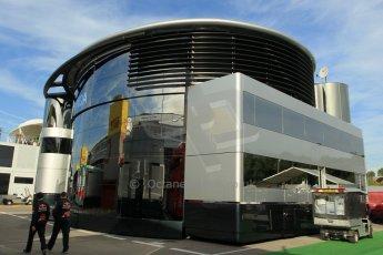 World © Octane Photographic Ltd. McLaren Honda Brand Centre. Thursday 7th May 2015, F1 Spanish GP Paddock, Circuit de Barcelona-Catalunya, Spain. Digital Ref: 1244CB1L5792