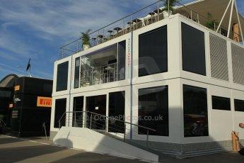 World © Octane Photographic Ltd. Williams Martini Racing Motorhome. Thursday 7th May 2015, F1 Spanish GP Paddock, Circuit de Barcelona-Catalunya, Spain. Digital Ref: 1244CB1L5800
