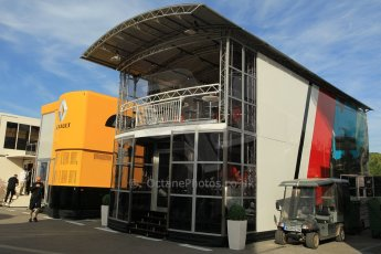World © Octane Photographic Ltd. Manor Marussia F1 Team Motorhome. Thursday 7th May 2015, F1 Spanish GP Paddock, Circuit de Barcelona-Catalunya, Spain. Digital Ref: 1244CB1L5806
