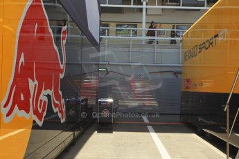 World © Octane Photographic Ltd. Infiniti Red Bull Racing and Renault transporters. Thursday 7th May 2015, F1 Spanish GP Paddock, Circuit de Barcelona-Catalunya, Spain. Digital Ref: 1244CB1L5854