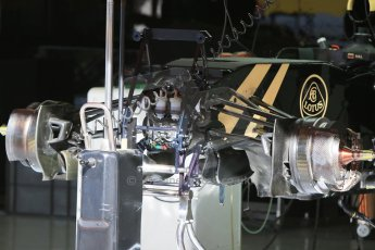 World © Octane Photographic Ltd. Lotus F1 Team E23 Hybrid. Thursday 7th May 2015, F1 Spanish GP Pitlane, Circuit de Barcelona-Catalunya, Spain. Digital Ref: 1244CB7D1323