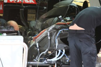 World © Octane Photographic Ltd. Lotus F1 Team E23 Hybrid. Thursday 7th May 2015, F1 Spanish GP Pitlane, Circuit de Barcelona-Catalunya, Spain. Digital Ref: 1244CB7D1329