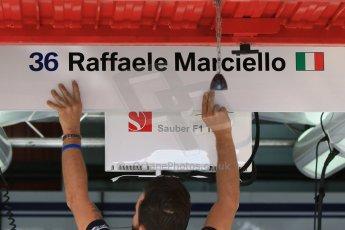 World © Octane Photographic Ltd. Sauber F1 Team Reserve Driver– Raffaele Marciello. Thursday 7th May 2015, F1 Spanish GP Pitlane Circuit de Barcelona-Catalunya, Spain. Digital Ref: 1244CB7D1382