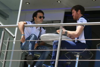 World © Octane Photographic Ltd. Williams Martini Racing FW37 – Felipe Massa and Rob Smedley. Thursday 7th May 2015, F1 Spanish GP Paddock, Circuit de Barcelona-Catalunya, Spain. Digital Ref: 1244CB7D1629