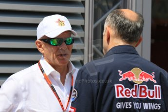 World © Octane Photographic Ltd. Scuderia Toro Rosso – Franz Tost and Peter Winsdor. Thursday 7th May 2015, F1 Spanish GP Paddock, Circuit de Barcelona-Catalunya, Spain. Digital Ref: 1244CB7D1717