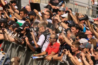 World © Octane Photographic Ltd. The crowds on the pitlane tour. Thursday 7th May 2015, F1 Spanish GP Pitlane, Circuit de Barcelona-Catalunya, Spain. Digital Ref: 1244CB7D5923