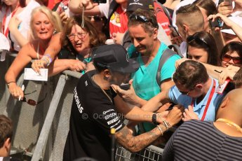 World © Octane Photographic Ltd. The crowds on the pitlane tour with Lewis Hamilton. Thursday 7th May 2015, F1 Spanish GP Pitlane, Circuit de Barcelona-Catalunya, Spain. Digital Ref: 1244CB7D5931