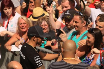 World © Octane Photographic Ltd. The crowds on the pitlane tour with Lewis Hamilton. Thursday 7th May 2015, F1 Spanish GP Pitlane, Circuit de Barcelona-Catalunya, Spain. Digital Ref: 1244CB7D5936
