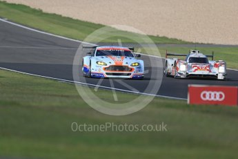 World © Octane Photographic Ltd. FIA World Endurance Championship (WEC), 6 Hours of Nurburgring , Germany - Practice 3, Saturday 29th August 2015. Aston Martin Racing – Aston Martin Vantage V8 - LMGTE Pro – Marco Sorensen and Christoffer Nygaard and Rebellion Racing – Rebellion R-One - LMP1 - Nicolas Prost, Nick Heidfeld and Mathias Beche. Digital Ref : 1395LB1D5630