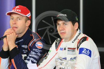 World © Octane Photographic Ltd. FIA World Endurance Championship (WEC), 6 Hours of Nurburgring , Germany - Press Conference, Friday 28th August 2015. Porsche Team Manthey – Richard Lietz and Aston Martin Racing – Stefan Mucke. Digital Ref : 1393LB5D0166