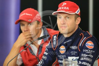 World © Octane Photographic Ltd. FIA World Endurance Championship (WEC), 6 Hours of Nurburgring , Germany - Press Conference, Friday 28th August 2015. Aston Martin Racing – Stefan Mucke and Audi Sport Team Joest- Marcel Fassler. Digital Ref : 1393LB5D0242