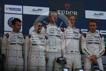 World © Octane Photographic Ltd. FIA World Endurance Championship (WEC), 6 Hours of Nurburgring , Germany – Race podium, Sunday 30th August 2015. Porsche Team – Porsche 919 Hybrid - LMP1 - Timo Bernhard, Mark Webber and Brendon Hartley (1st), Romain Dumas, Neel Jani and Marc Lieb (2nd) and Audi Sport Team Joest- Audi R18 e-tron Quatrro - LMP1 - Oliver Jarvis, Lucas di Grassi and Loic Duval (3rd). Digital Ref : 1399LB5D2246