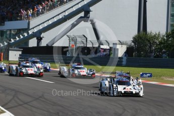 World © Octane Photographic Ltd. FIA World Endurance Championship (WEC), 6 Hours of Nurburgring , Germany - Race, Sunday 30th August 2015. The Porsche Team – Porsche 919 Hybrids - LM LMP1 of Romain Dumas, Neel Jani and Marc Lieb and Timo Bernhard, Mark Webber and Brendon Hartley ahead of the Audi Sport Team Joest- Audi R18 e-tron Quatrros of Andre Lotterer, Benoit Treluyer and Marcel Fassler and Oliver Jarvis, Lucas di Grassi and Loic Duval. Digital Ref : 1398LB1D6309