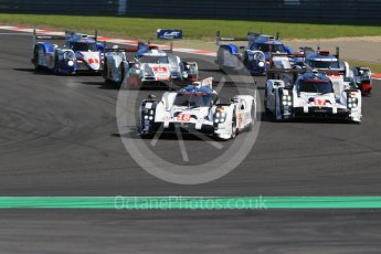 World © Octane Photographic Ltd. FIA World Endurance Championship (WEC), 6 Hours of Nurburgring , Germany - Race, Sunday 30th August 2015. Porsche - Porsche - Audi - Audi - Toyota - Toyota on lap 1. Digital Ref : 1398LB1D6316