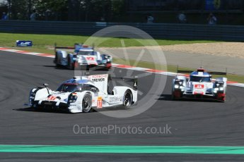 World © Octane Photographic Ltd. FIA World Endurance Championship (WEC), 6 Hours of Nurburgring , Germany - Race, Sunday 30th August 2015. Porsche Team – Porsche 919 Hybrid - LMP1 - Timo Bernhard, Mark Webber and Brendon Hartley, Audi Sport Team Joest- Audi R18 e-tron Quatrro - LMP1 - Oliver Jarvis, Lucas di Grassi and Loic Duval and Andre Lotterer, Benoit Treluyer and Marcel Fassler. Digital Ref : 1398LB1D6385