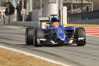 World © Octane Photographic Ltd. Sauber F1 Team C34-Ferrari – Felipe Nasr. Thursday 19th February 2015, F1 Winter testing, Circuit de Catalunya, Barcelona, Spain, Day 1. Digital Ref : 1187CB7B0633