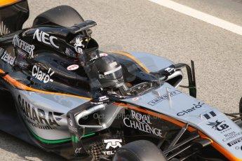 World © Octane Photographic Ltd. Sahara Force India VJM07 – Sergio Perez. Thursday 19th February 2015, F1 Winter testing, Circuit de Catalunya, Barcelona, Spain, Day 1. Digital Ref :1187CB7L1556