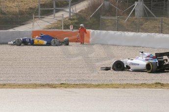 World © Octane Photographic Ltd. Williams Martini Racing FW37 – Susie Wolff and Sauber F1 Team C34-Ferrari – Felipe Nasr. Thursday 19th February 2015, F1 Winter testing, Circuit de Catalunya, Barcelona, Spain, Day 1. Digital Ref:1187CB7L1567
