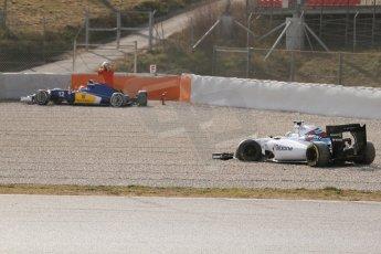 World © Octane Photographic Ltd. Williams Martini Racing FW37 – Susie Wolff and Sauber F1 Team C34-Ferrari – Felipe Nasr. Thursday 19th February 2015, F1 Winter testing, Circuit de Catalunya, Barcelona, Spain, Day 1. Digital Ref:1187CB7L1572