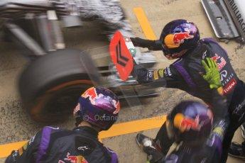 World © Octane Photographic Ltd. Infiniti Red Bull Racing RB11 – Daniil Kvyat practice pitstop. Saturday 21st February 2015, F1 Winter testing, Circuit de Barcelona Catalunya, Spain, Day 3. Digital Ref : 1190CB1L7356