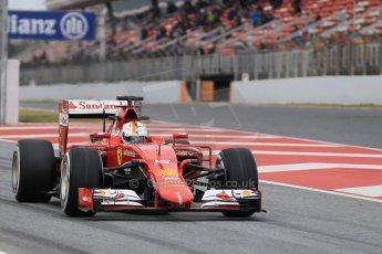 World © Octane Photographic Ltd. Scuderia Ferrari SF15-T– Sebastian Vettel. Saturday 21st February 2015, F1 Winter testing, Circuit de Barcelona Catalunya, Spain, Day 3. Digital Ref: 1190CB1L7882