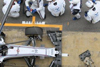World © Octane Photographic Ltd. Williams Martini Racing FW37 – Felipe Massa practice pitstop. Saturday 21st February 2015, F1 Winter testing, Circuit de Barcelona Catalunya, Spain, Day 3. Digital Ref: 1190CB1L8109