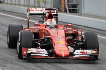 World © Octane Photographic Ltd. Scuderia Ferrari SF15-T– Sebastian Vettel. Saturday 21st February 2015, F1 Winter testing, Circuit de Barcelona Catalunya, Spain, Day 3. Digital Ref: 1190CB1L8548