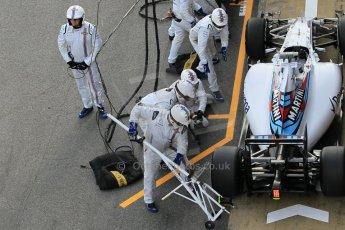 World © Octane Photographic Ltd. Williams Martini Racing FW37 – Valtteri Bottas practice pitstop Saturday 21st February 2015, F1 Winter testing, Circuit de Barcelona Catalunya, Spain, Day 3. Digital Ref: 1190CB1L8558