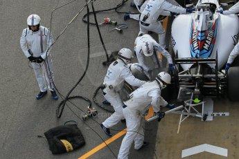 World © Octane Photographic Ltd. Williams Martini Racing FW37 – Valtteri Bottas practice pitstop Saturday 21st February 2015, F1 Winter testing, Circuit de Barcelona Catalunya, Spain, Day 3. Digital Ref: 1190CB1L8562