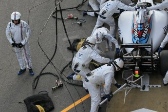 World © Octane Photographic Ltd. Williams Martini Racing FW37 – Valtteri Bottas practice pitstop Saturday 21st February 2015, F1 Winter testing, Circuit de Barcelona Catalunya, Spain, Day 3. Digital Ref: 1190CB1L8564