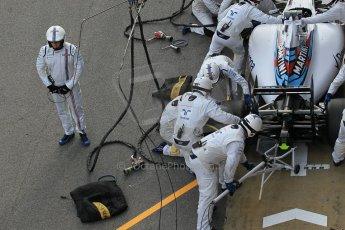 World © Octane Photographic Ltd. Williams Martini Racing FW37 – Valtteri Bottas practice pitstop Saturday 21st February 2015, F1 Winter testing, Circuit de Barcelona Catalunya, Spain, Day 3. Digital Ref: 1190CB1L8565
