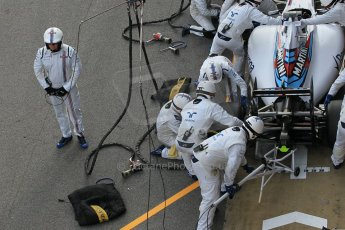 World © Octane Photographic Ltd. Williams Martini Racing FW37 – Valtteri Bottas practice pitstop Saturday 21st February 2015, F1 Winter testing, Circuit de Barcelona Catalunya, Spain, Day 3. Digital Ref: 1190CB1L8566