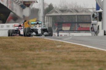 World © Octane Photographic Ltd. Mercedes AMG Petronas F1 W06 Hybrid – Lewis Hamilton and Scuderia Toro Rosso STR10 – Max Verstappen. Saturday 21st February 2015, F1 Winter testing, Circuit de Barcelona Catalunya, Spain, Day 3. Digital Ref : 1190CB7L6258